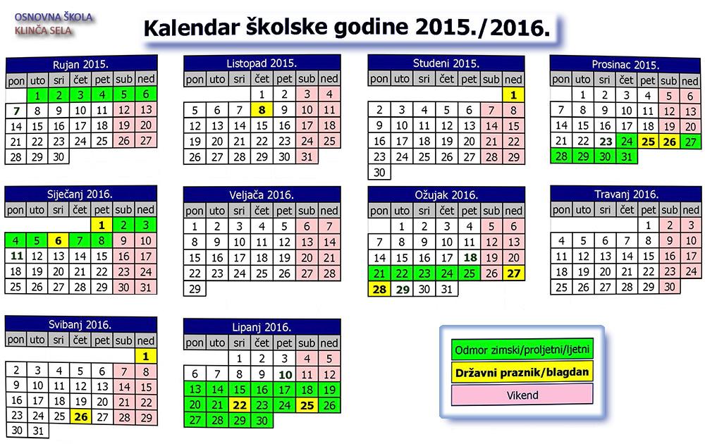 Prvo polugodište traje od 7. rujna do 23. prosinca 2015. godine. Prvi ...